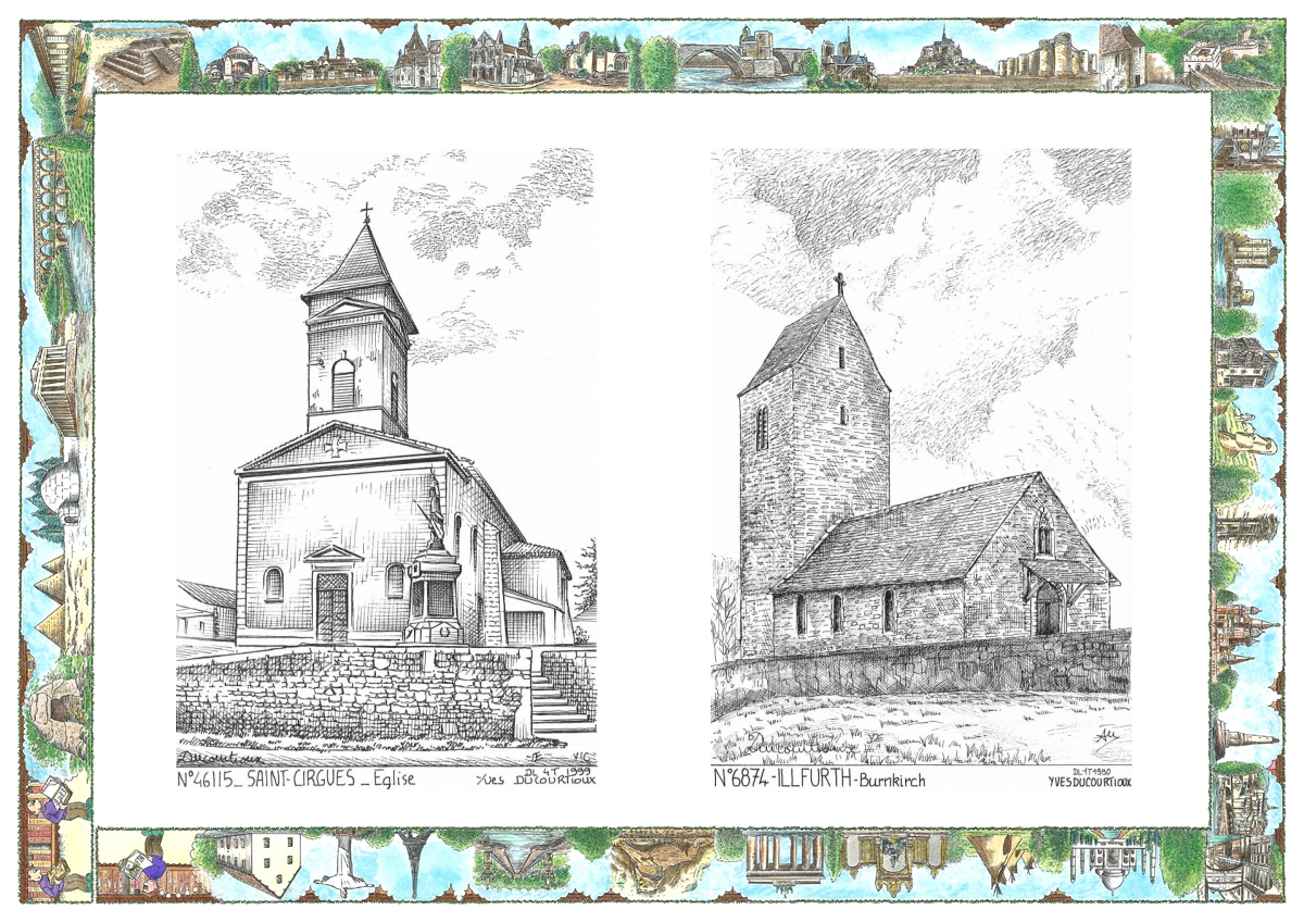 MONOCARTE® N° 46115-68074 - ST CIRGUES - église / ILLFURTH - burnkirch