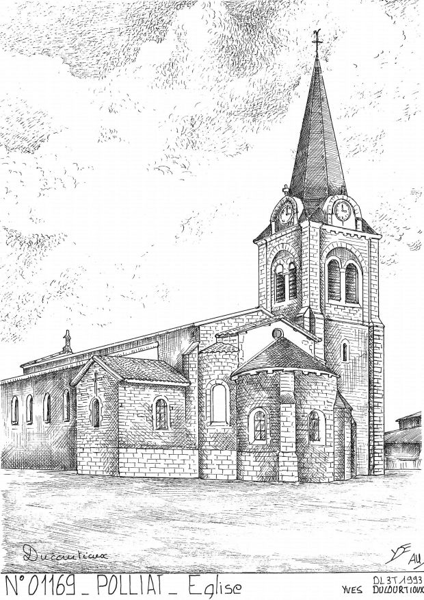 Carte Postale N° 01169 - POLLIAT - église