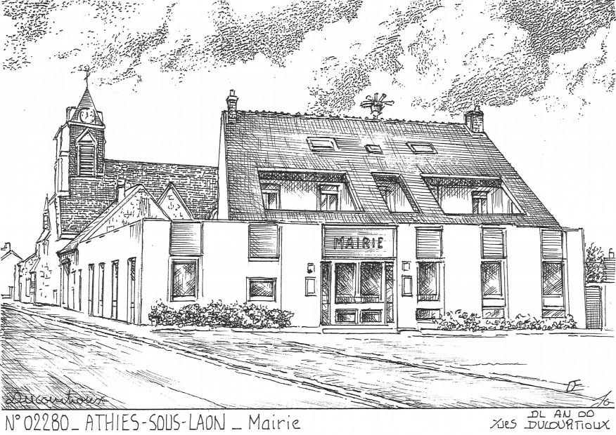 Carte Postale N° 02280 - ATHIES SOUS LAON - mairie