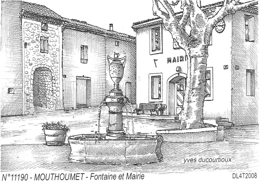 Carte Postale N° 11190 - MOUTHOUMET - fontaine et mairie