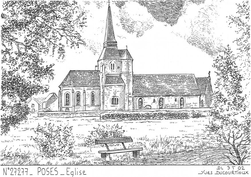 Cartes postales POSES - église