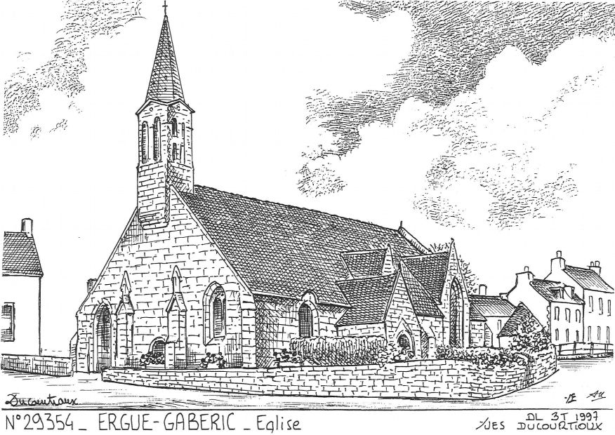 Cartes postales ERGUE GABERIC - église