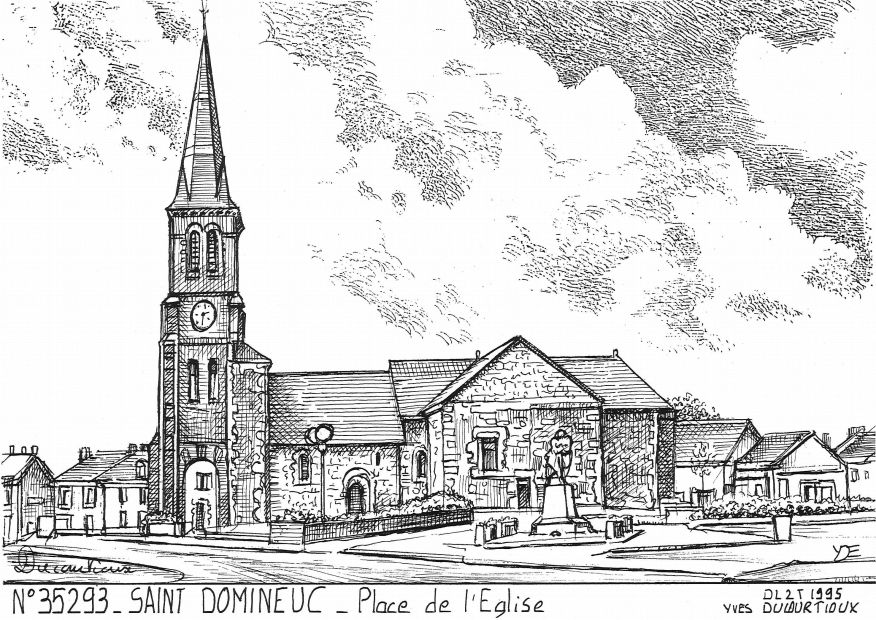 Carte Postale N° 35293 - ST DOMINEUC - place de l église