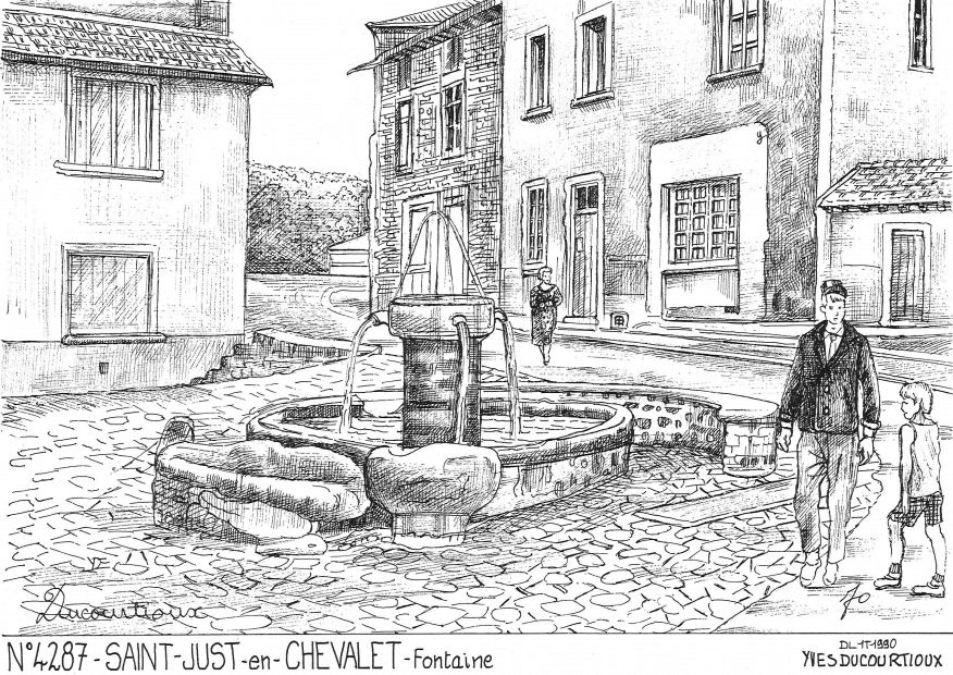 Carte Postale N° 42087 - ST JUST EN CHEVALET - fontaine