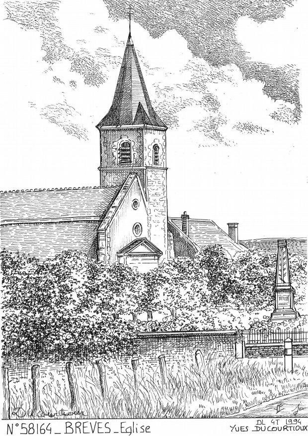 Carte Postale N° 58164 - BREVES - église
