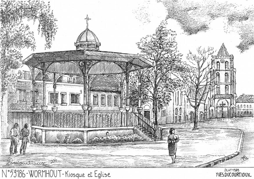 Carte Postale N° 59186 - WORMHOUT - kiosque et église