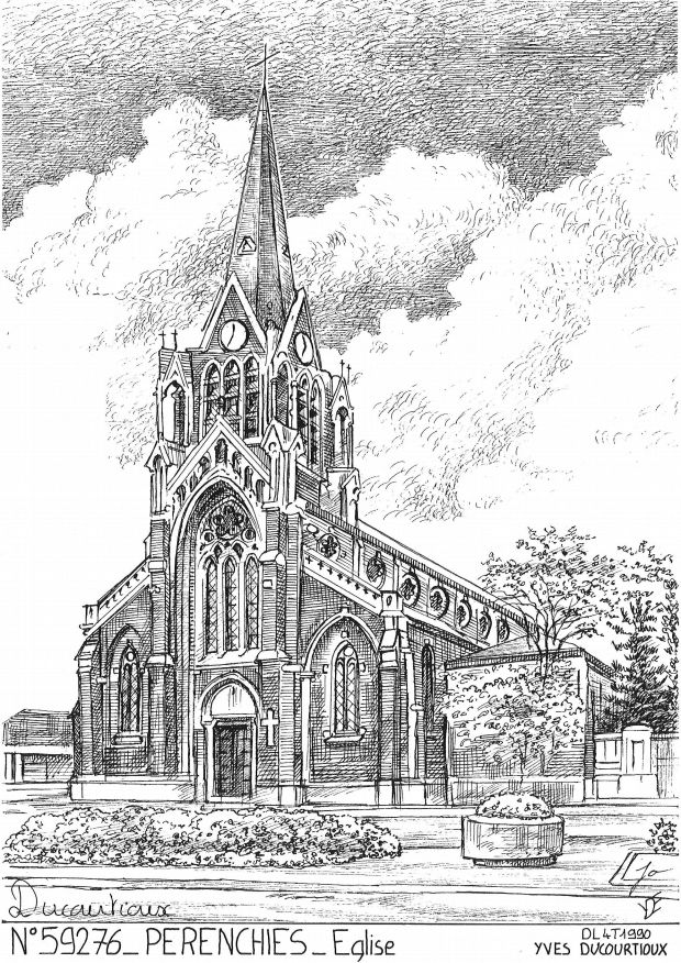 Carte Postale N° 59276 - PERENCHIES - église