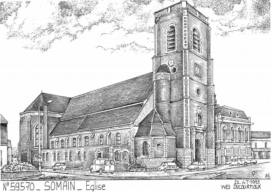 Carte Postale N° 59570 - SOMAIN - église