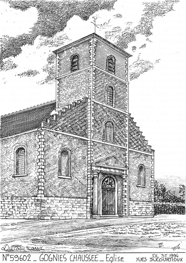 Carte Postale N° 59602 - GOGNIES CHAUSSEE - église