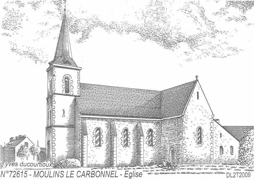 Carte Postale N° 72615 - MOULINS LE CARBONNEL - église