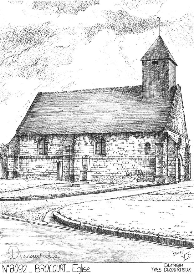 Carte Postale N° 80092 - BROCOURT - église