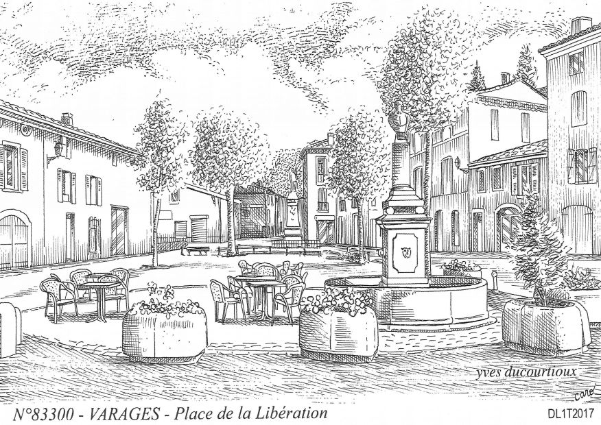 Carte Postale N° 83300 - VARAGES - place de la libération
